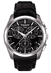 Tissot T035.617.16.051.00 Men's Couturier Black Leather Swiss Quartz Watch with Black Dial