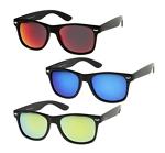 zeroUV - Matte Finish Reflective Color Mirror Lens Large Square Horn Rimmed Sunglasses